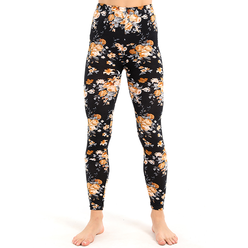 New Style   Leggings   Women Yellow Floral Printing Fitness Leggins Soft Skin Material Pant High Waist Trousers Stretch Pants
