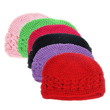 Autumn winter Crochet Baby Hat Girl Boy Cap Kids Toddlers Infant Baby Girl Flower Hollow Out Solid Headwear Hats lowest price(China)