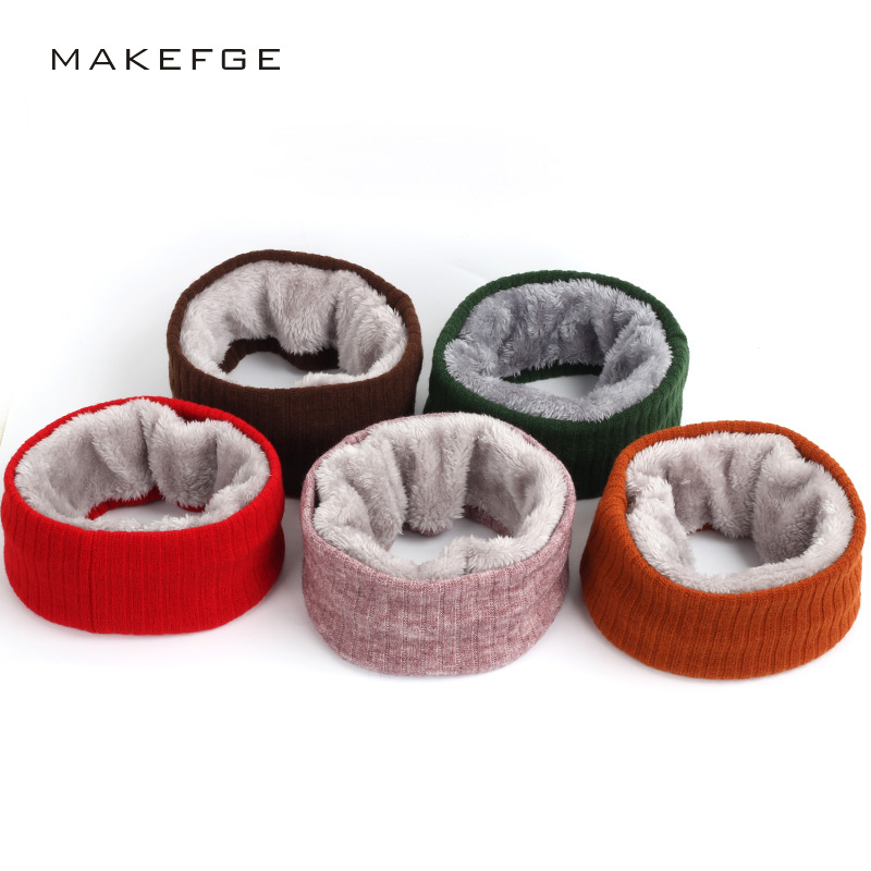 New Children's Boys And Girls Winter Scarves Knitted Plush Men's And Women's Thick Velvet Stand Collar Soft Warm Hijabs Beanie