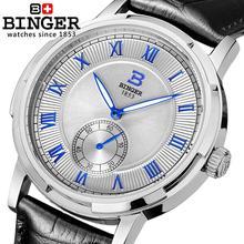 Швейцария часы мужские люксовый бренд БИНГЕР свечение Механические Наручные Часы кожаный ремешок 100 М Водонепроницаемость B-5037