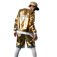 Men Women Nightclubs Costumes Street Fashion Hip hop Coat Male Gold Diamond Splice Leather Jacket DJ Stage Wear Clothing