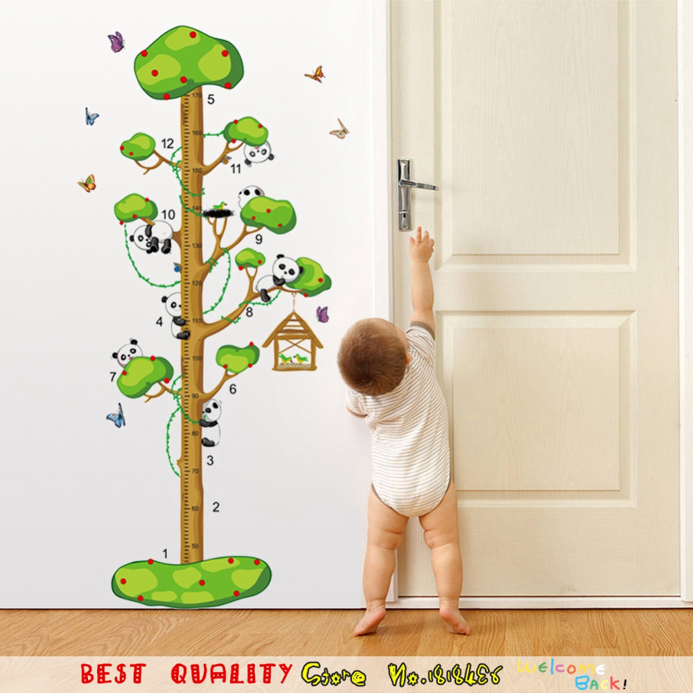 Cute pandas butterflies tree height measure growth chart wall cute pandas butterflies tree height measure growth chart wall stickers animals cartoon home decals wall paper sticker kids room in wall stickers from home geenschuldenfo Image collections