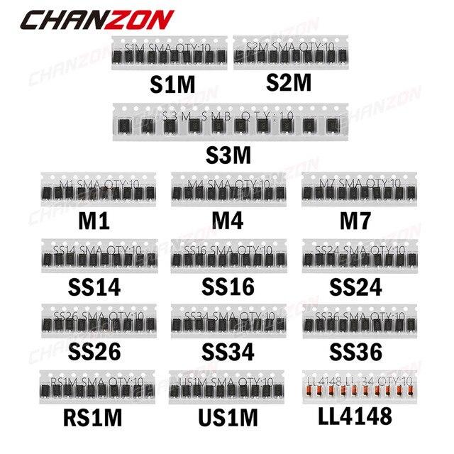 SMD Schottky Diodo de Comutação Rápida Assorted Kit Set (M1 M4 M7 S1M S2M S3M SS14 SS16 SS24 SS26 SS34 SS36 RS1M US1M LL4148)