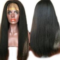 Luffy Hair 250% High Density Yaki Straight 13x6 Lace Front Wig Brazilian Human Hair Pre Plucked Baby Hair Italian Light Yaki