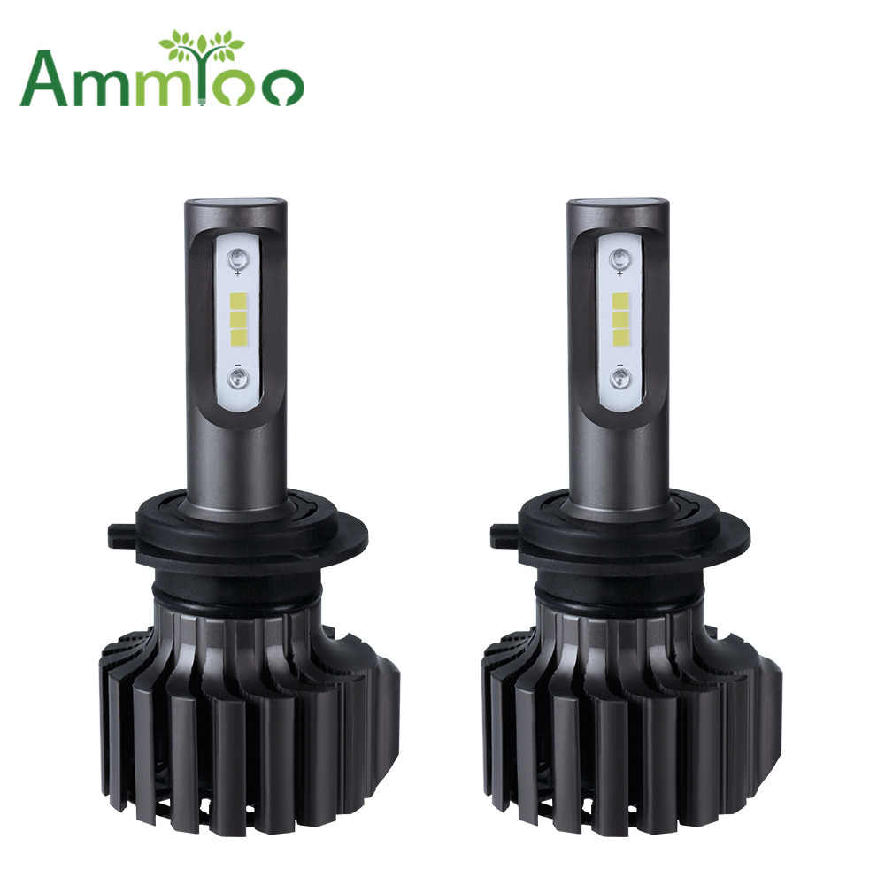 AmmToo H4 H7 Car LED Headlight All in one 9005 9006 Fog Light 72W 12000lm Auto Bulb Headlamp 6500K Light H1 H13 9004 car Bulb