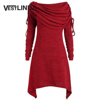 VESTLINDA Red Blouse Shirts Long Foldover Collar Plus Size Ruched Blouse New Fashion Women Tops Casual