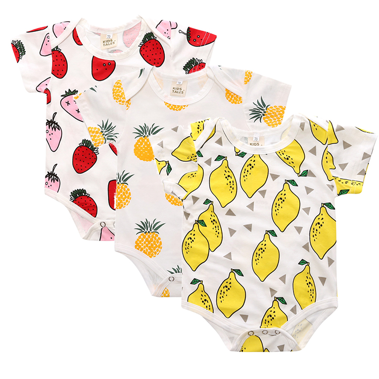 3 pcs / LOT New Baby Boy Clothes Toddlers Cartoon short sleeve pineapple cotton Children rompers Baby Pajamas Jumpsuits SR094 2017 new baby boy cloth 3 pieces lot