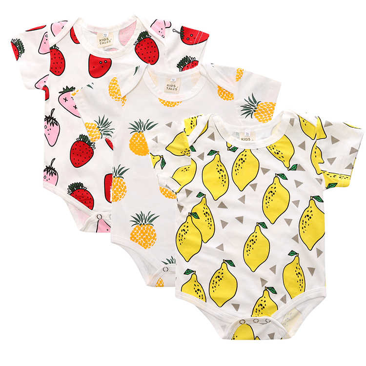 a91d6a0f5 3 pcs / LOT New Baby Boy Clothes Toddlers Cartoon short sleeve pineapple  cotton Children rompers