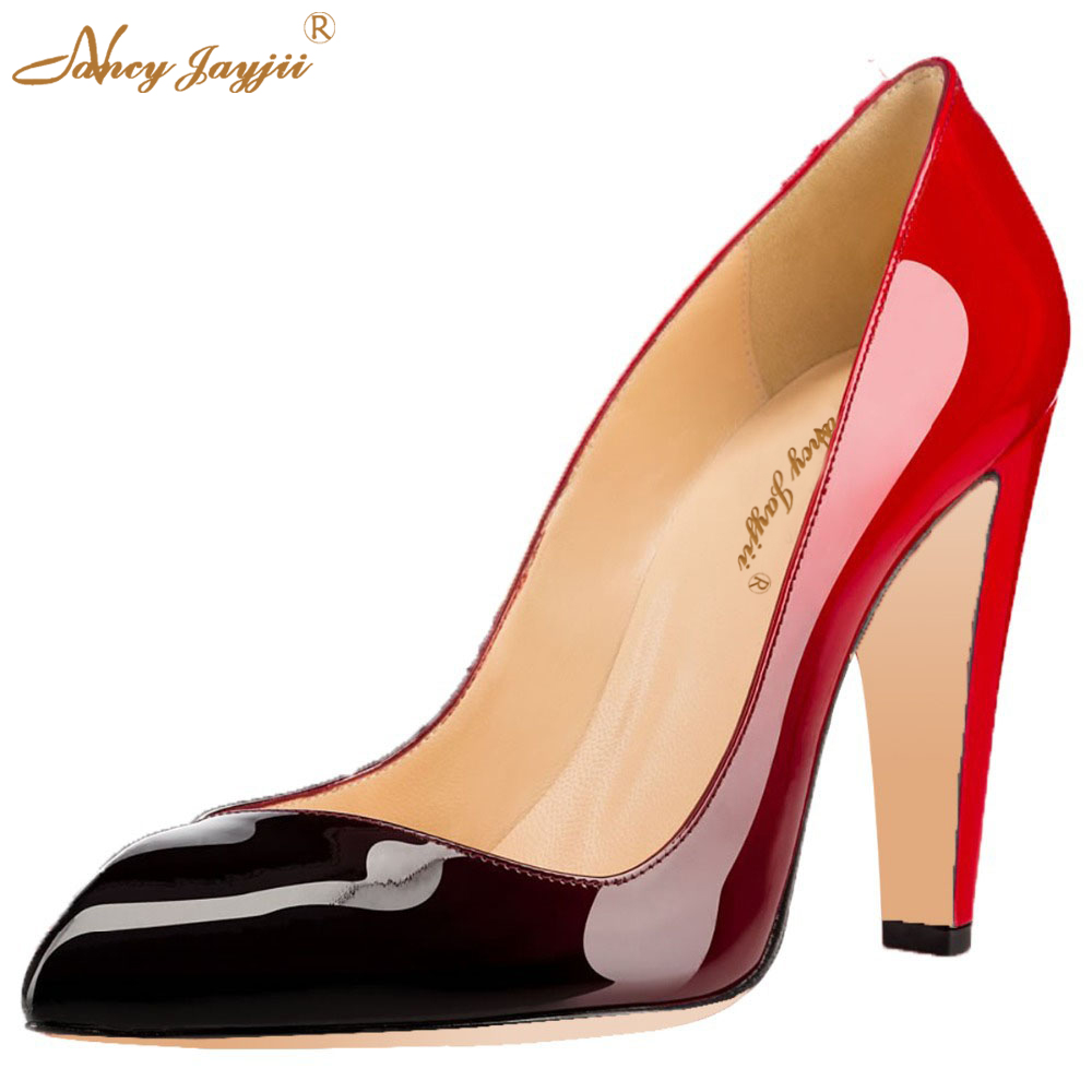 Red Black Gradient Patent Leather Womens Sexy Pointed Toe High Thick Heels Pumps Slip-On Causal Women Shoes Size 11 Nancyjayjii krazing pot shallow fashion brand shoes genuine leather slip on pointed toe preppy office lady thick high heels women pumps l18