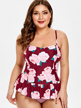 Plus Size Floral Striped Tankini