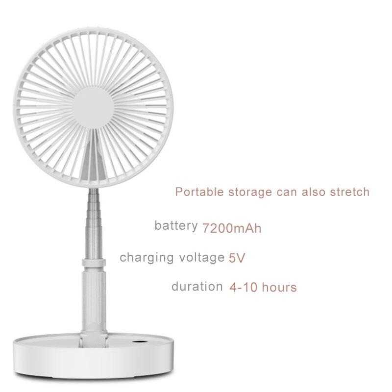 Refrigerador de Ar Do Ventilador de Mesa Mini Ventilador USB Recarregável portátil Telescópica Dobrável Ventilador Pequeno Ventilador Silencioso Para Casa Inteligente