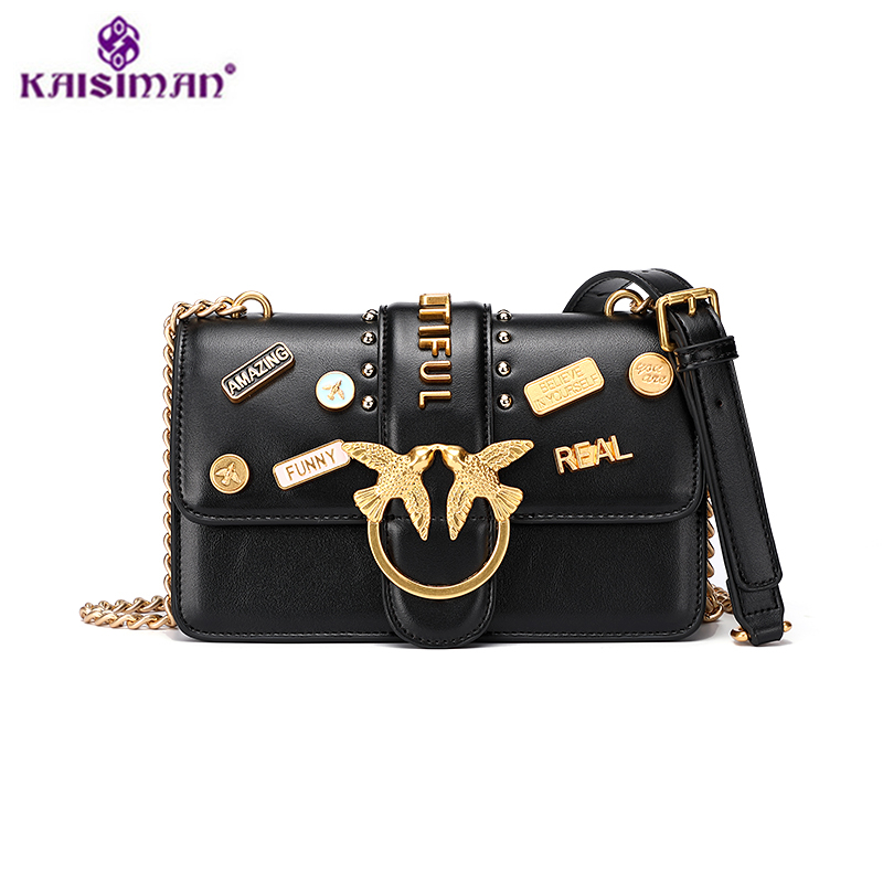 купить New Luxury Brand Famous Designer Flap Lady Women Shoulder Bag Chains Swallow Lock Messenger Bags Split Leather Handbag and Purse по цене 4068.97 рублей