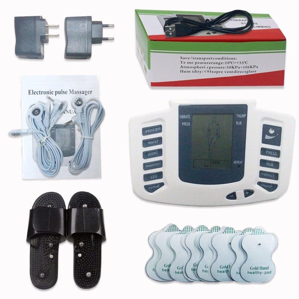 Estimulador elétrico Full Body Relax Muscle Digital Massager Pulso DEZENAS Acupuntura com a Terapia de Chinelo 16 Pcs Eletrodo Pads