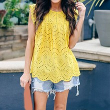 Fashion 2019 Summer Women Lace Shirt Casual Sleeveless Hollow Blouses Loose Patchwork