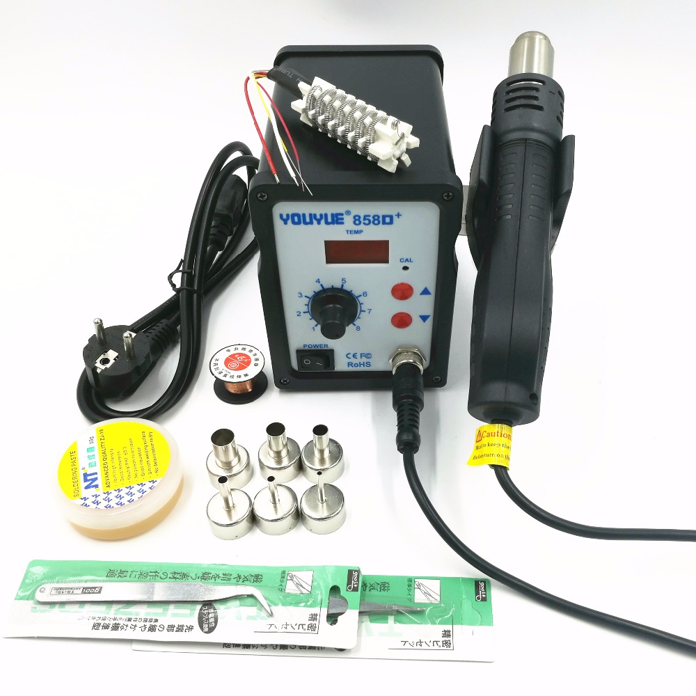 Hot Air Gun 700W YOUYUE 858D+ ESD Soldering Station Digital Desoldering Station + 6 Air nozzles + Heating core With Solder past hot air gun host does not include accessories 700w youyue 858d esd soldering station heat gun desoldering station host