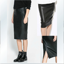 Hot Women's New Fashion Brand Imitation Sheepskin Skirt Paragraph Skin Grows Sexy High Pockets Hip Skirt One Pace Skirt / XS-L