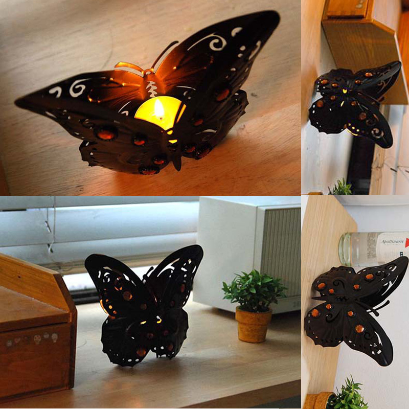 European Style Classical Candle Holder Iron Black Butterfly Pattern With Diamond Home Decoration