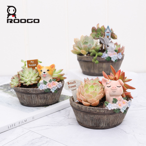 Image 4 - Roogo American Style Flower Pots Resin Flowerpot For Home Garden Decoration Wood Bonsai Pot Succulents Plants Orchids Cactus