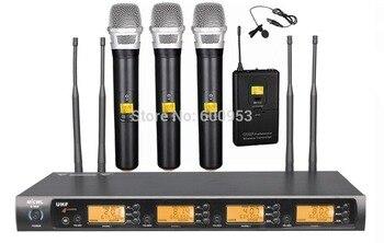 микрофон с отворотом | 3 ручной 1 Lavalier нагрудные 4X100 каналов УВЧ Беспроводной караоке микрофон Системы