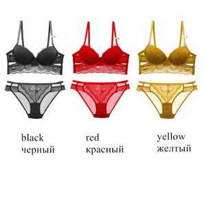 Image 2 - Brand Lingerie Sexy bra and panty set High Quality Women Underwear 3/4 Cup Lingerie Set Push Up Brassiere Solid color underwear
