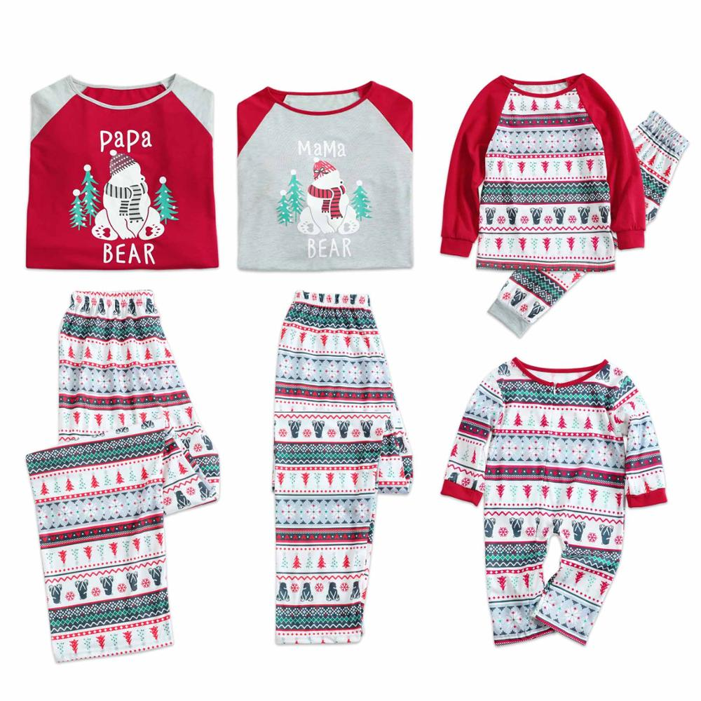 PatPat Autumn Winter Parent-child Casual Cotton Christmas Snowman Tree Pattern Family Matching Pajamas Set Father And Mother