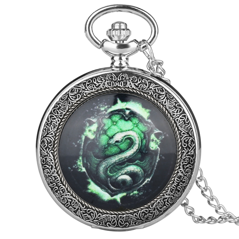 Fluorescent Green SLYTHERIN Snake Analog Quartz Pocket Watch Analog Pendant 80CM Necklace Chain Relogio De Bolso