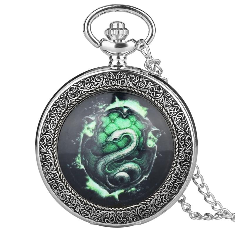 Fluorescent Green SLYTHERIN Snake Analog Quartz Pocket Watch Analog Pendant 80CM Necklace Chain Relogio De Bolso