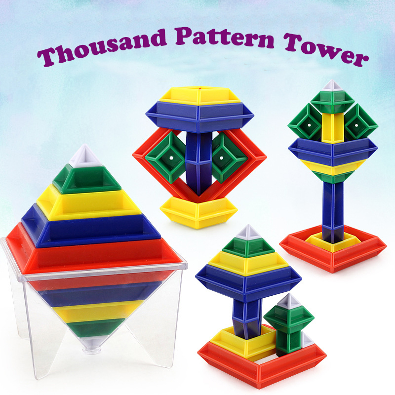 Magic Turning Pattern Tower Childrens Intelligence Building Blocks Cube Kids Toys DIY Child Birthday Gift