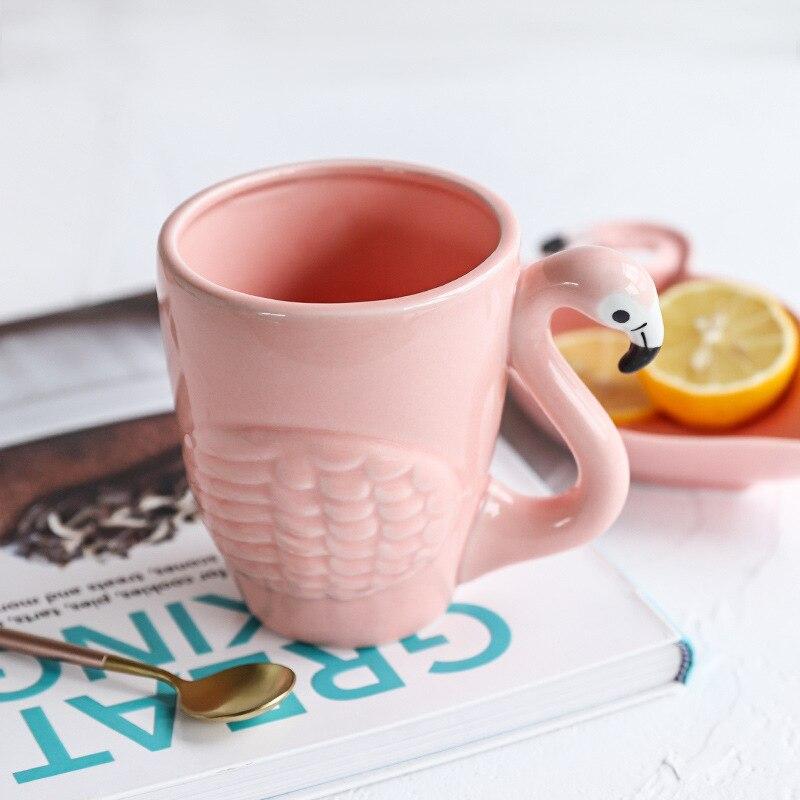 Креативная кружка с розовым фламинго, кофейная чашка, кружка для путешествий, керамическая кружка для кофе, чайные чашки и кружки, чашка с ро...