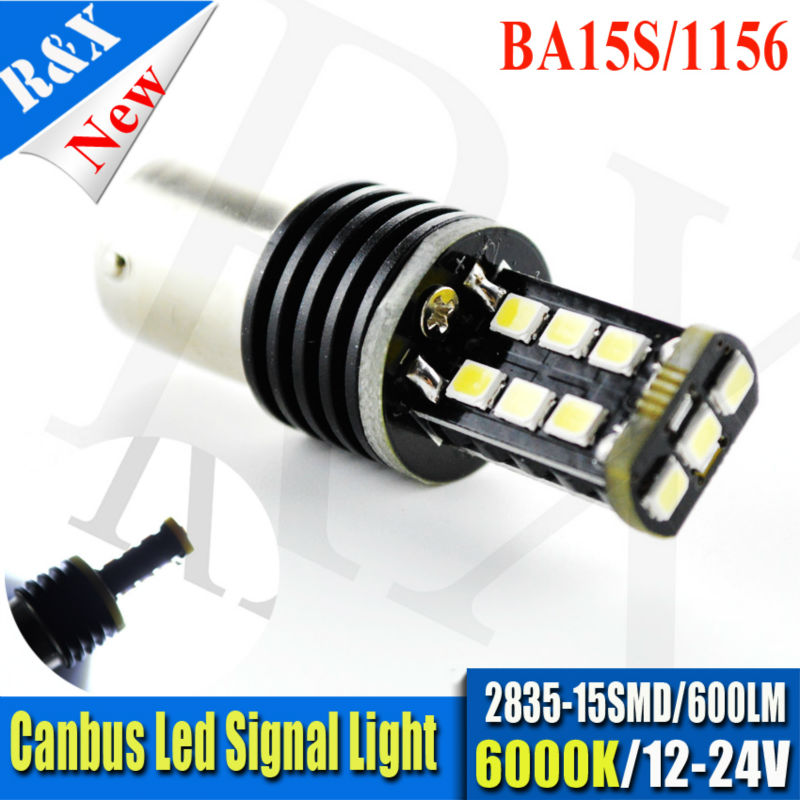 1pc 600lm White 2323 15SMD 12-24V Canbus Error Free P21W 1156 BA15s R10W 382 1156 Xenon 6000K CAN-Bus Car LED Bulb Revers Light ruiandsion 2x75w 900lm 15smd xbd chips red error free 1156 ba15s p21w led backup revers light canbus 12 24vdc