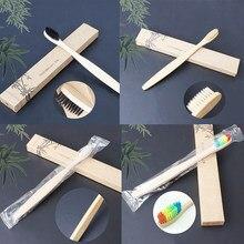Cepillo de dientes de bambú respetuoso con el medio ambiente, de madera, Arco Iris, cepillo para cuidado dental, cerdas suaves, 4 colores