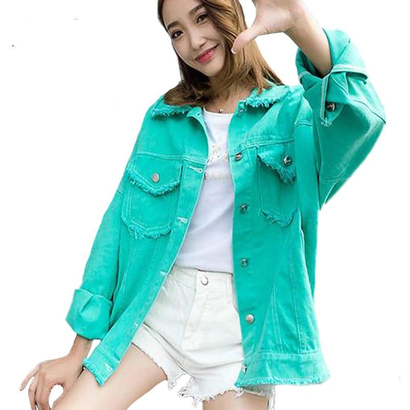 Primavera Verde Donne Cappotto Bomber Pulsante bianco Allentato Jeans Modo Di Bianco Verde colore Giacca Rosa Giallo Rosa colore Base rwqp0YOr