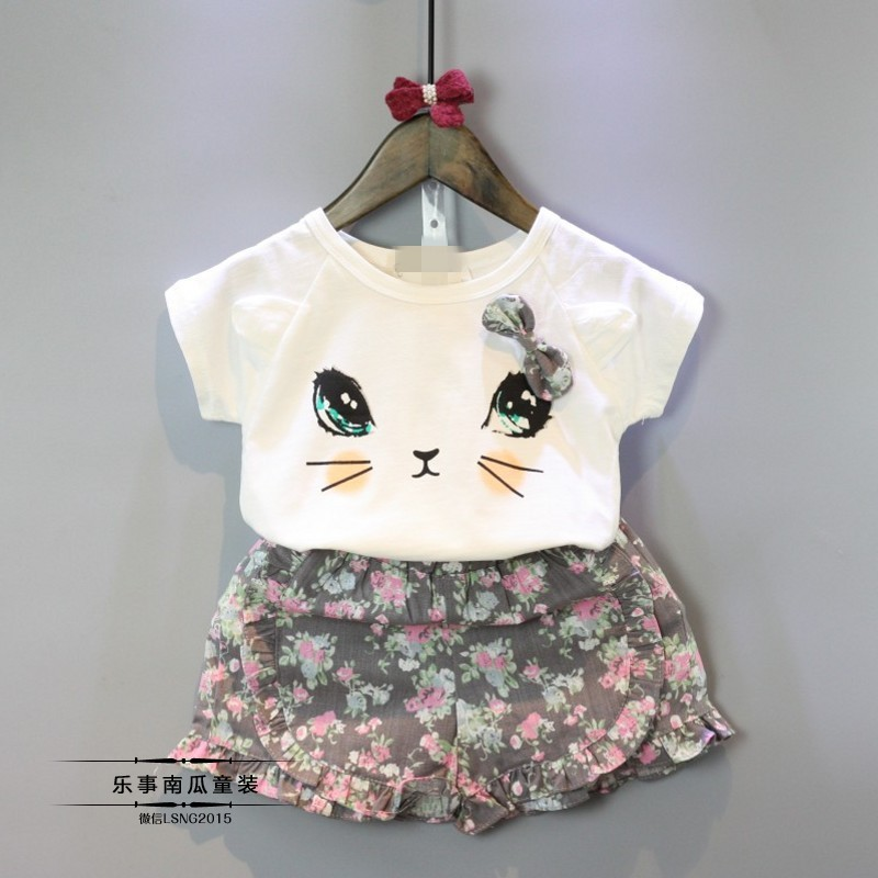 2017 Summer Girls Clothing Sets New Girls Clothes Bow Cute Little Cat T-shirt + Shorts Suit Crushed Flowers
