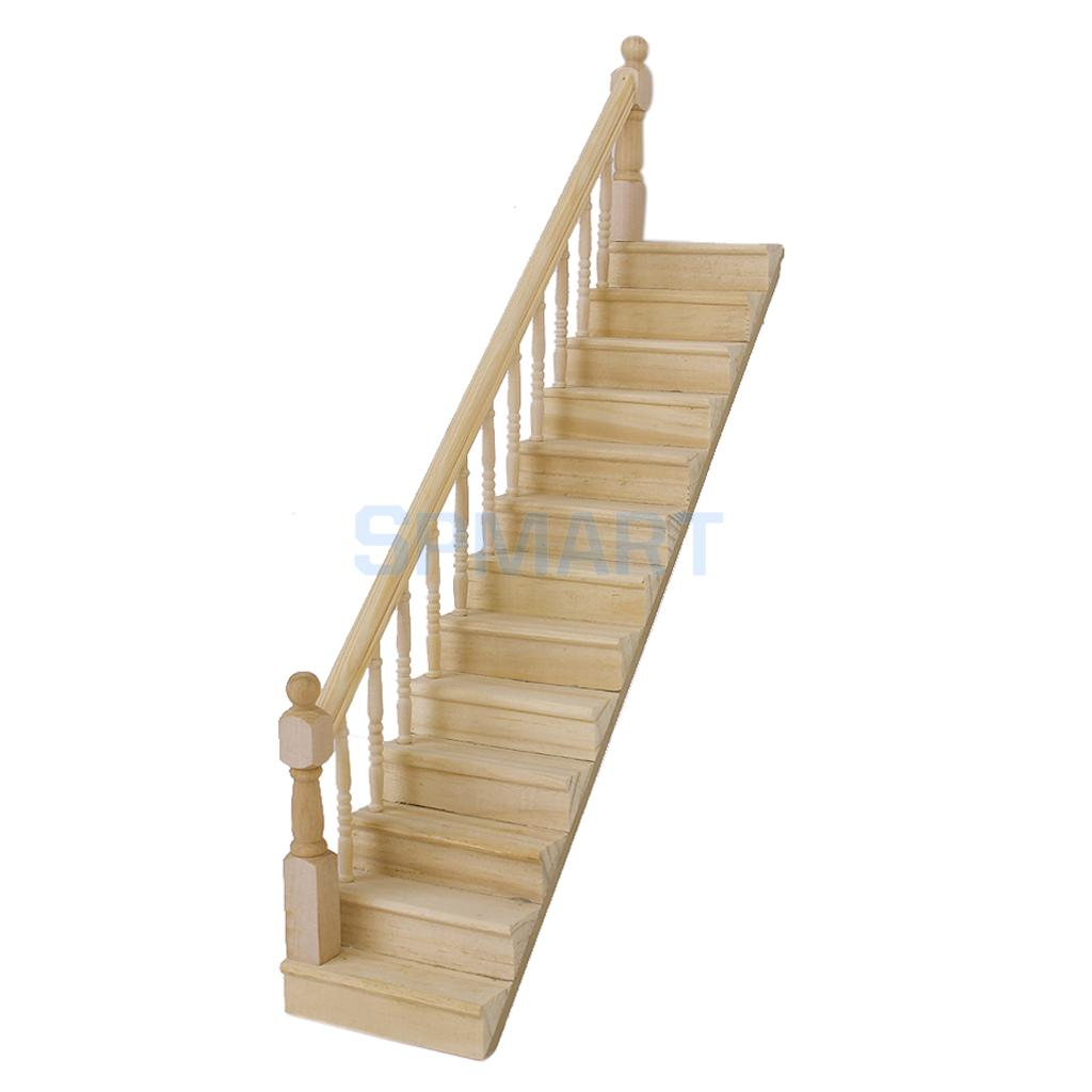 Dollhouse Wooden Staircase Stair Stringer Step Left Handrail  Pre Assembled(China)