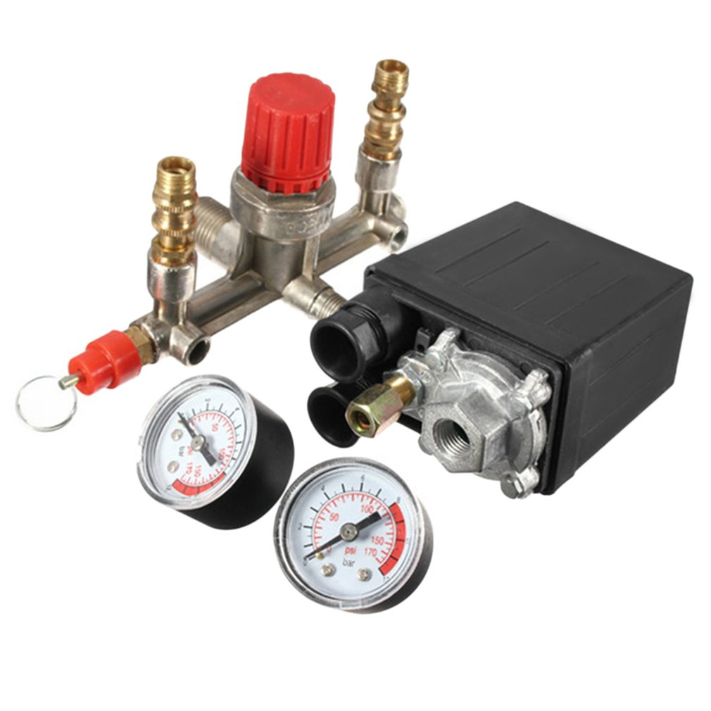 40343 Adjustable Pressure Switch Air Compressor Switch Pressure Regulating With 2 Press Gauges Valve Control Set