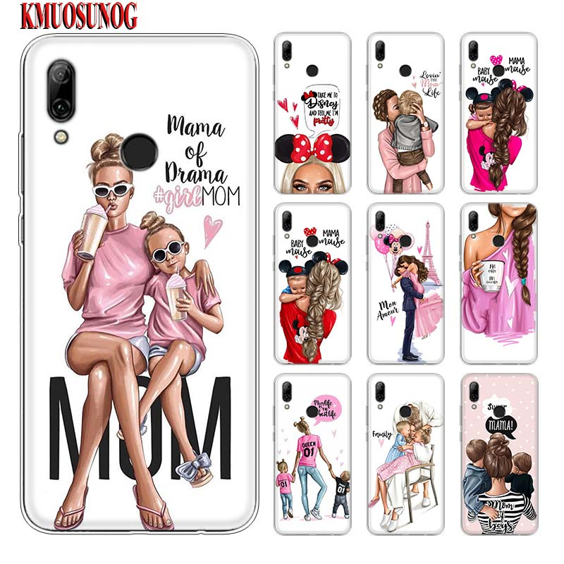 Silicone Phone <font><b>Case</b></font> Baby Mom Girl Hot Fashion for <font><b>huawei</b></font> P30 Lite P Smart Honor 7A 8 8A 8C 8X 10i Y5 Y6 <font><b>Y7</b></font> Y9 Pro <font><b>2019</b></font> 2018 2017 image
