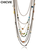 Luxury Cute Rhinestone Beads Necklaces Wholesale Gold Plated Multilayer Natural Stone Pendant Necklaces For Women SNE160253