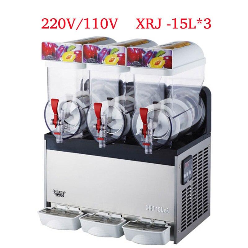 GüNstiger Verkauf 220 V/110 V Slush Maschine 15l Getränke Eis Maschine Schnee Schmelzen Maschine 3 Tanks Von Kommerziellen Slush Maschine Xrj-15l 3 Großgeräte