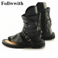 Genuine Leather Summer Gladiator Sandals For Men Rivets Thong Shoes Men Ankle Strap Designers Beach Mens
