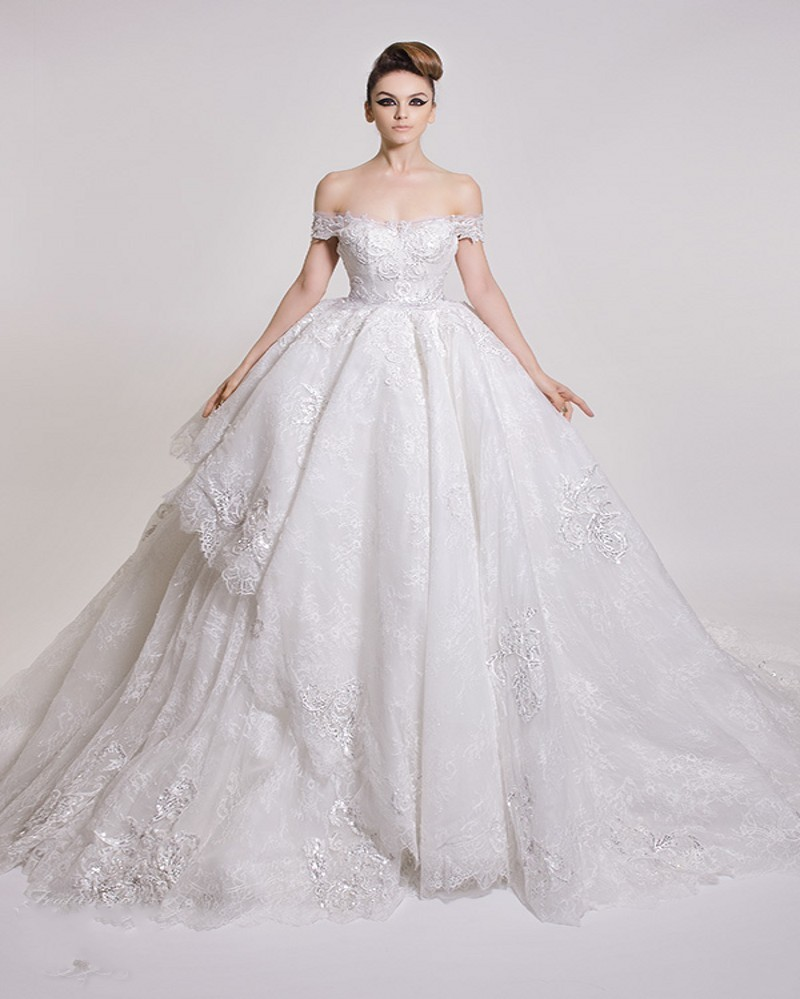 Amazing Lace Ball Gown Wedding Dress 2016 Y Off The Shoulder Liques Cap Sleeve Vestido De Noiva Luxury In Dresses From
