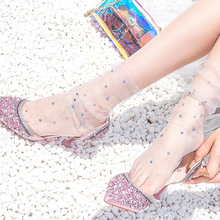 Shiney Crystal Women Socks Tulle Transparent Thin Long Streetwear Funny Dress Hosiery