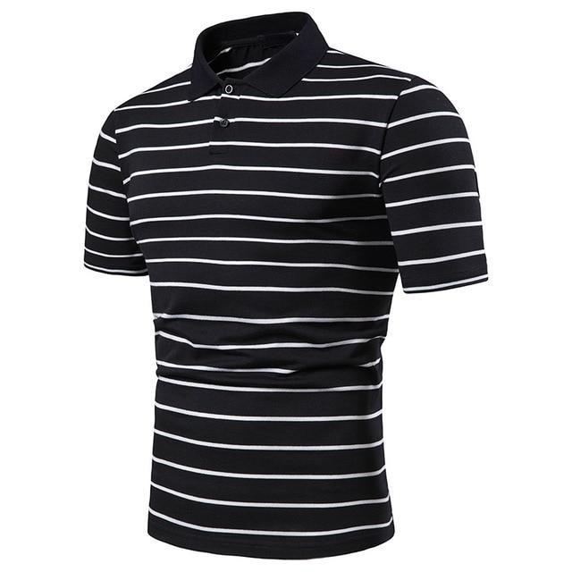 Men's short sleeve polo chest three stripe color matching fashion collocation cross-border lapels men short sleeve POLO 8
