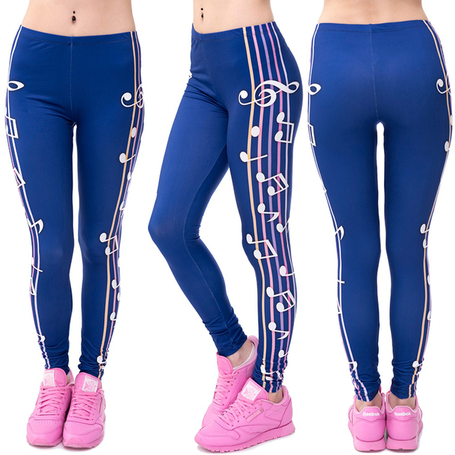 Women Girl Funny Pretty Casual Basic Leggings 3D Musical Notation Printed Female Navy Blue Punk Leggin Legging Pant