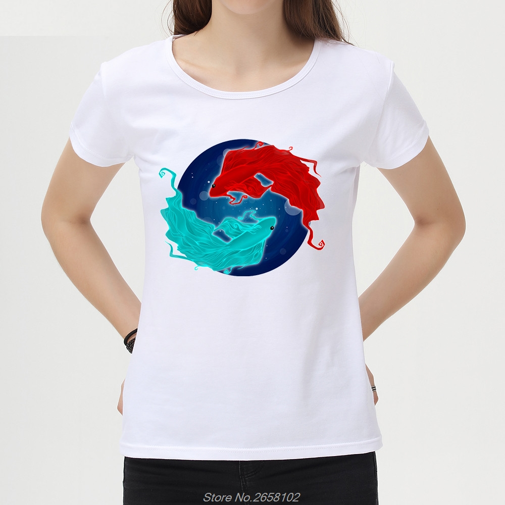 Two Fishes Art Design T-Shirt Women Short Sleeve Casual Tops Hipster White T Shirts Funny Cool Tee Harajuku Streetwear