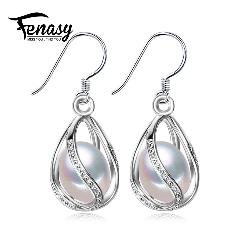 цена на FENASY Pearl drop earrings ,925 sterling silver earrings for love,charms geometric bohemian earrings for women with gift box