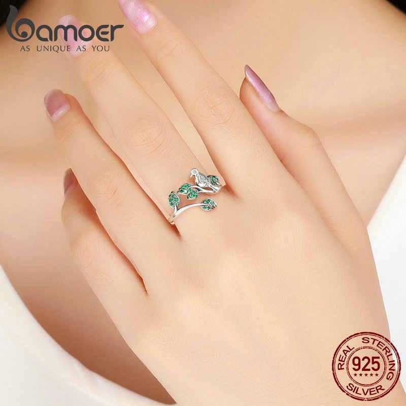 BAMOER haute qualité 100% 925 en argent Sterling arbre feuilles avec oiseau doigt anneaux pour femmes mariage bague de fiançailles bijoux BSR009