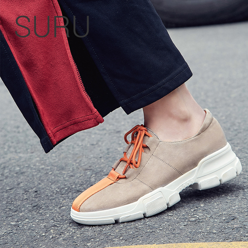 SURU ladies real   leather     suede   sneakers women lace up colors strap details flats casuals shoes size 34-40