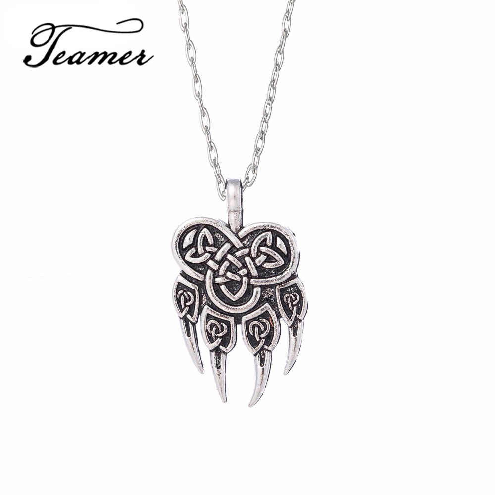 Teamer Viking Slavic Pendant Necklace Veles God Symbol Warding Veles Bear Paw Talisman Amulet Jewelry for Man/Woman Gold Sliver