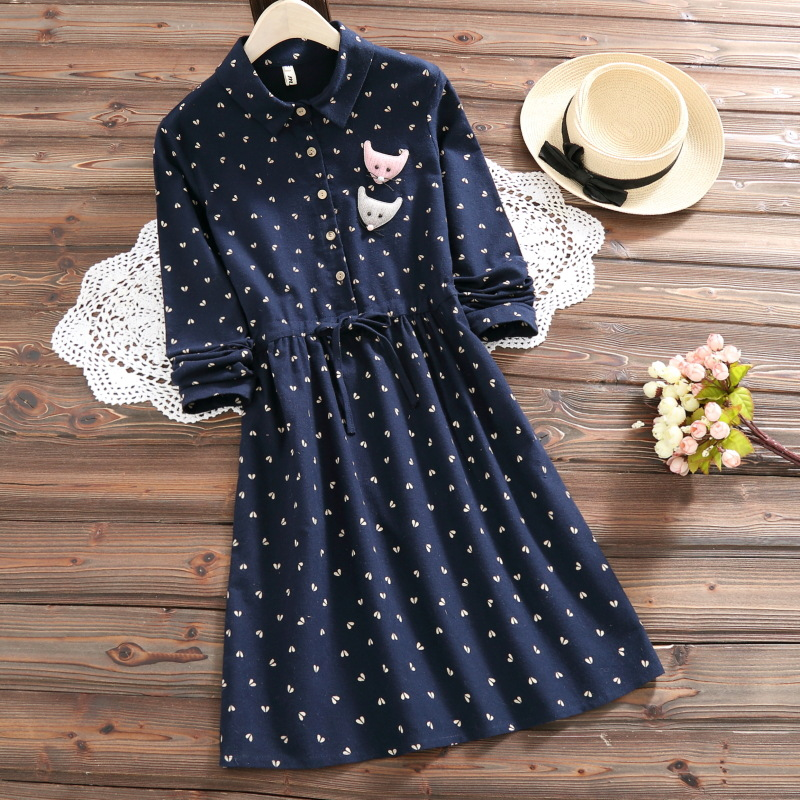 MISSFEBPLUM 2018 Printed Dress Women Spring Fall Turn Down Collar Full Sleeve Cute Fox Patch Drawstring Desses Retro Vestidos