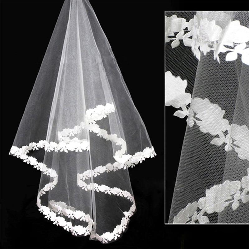 Voile Mariage 1.5M White Red Tulle Wedding Veils Lace Edge Bridal Veil Wedding Accessories Velos De Novia Voile De Mariee S3